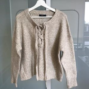 Sweater with Lace Ties